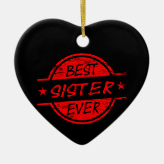 Best Sister Ever Red Christmas Ornaments