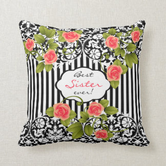 Best Sister Ever with Coral Roses! Throw Pillow