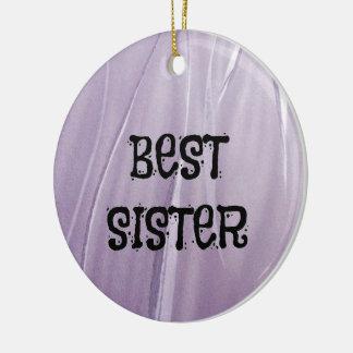 Best Sister Pale Soft Lilac Round Ceramic Decoration