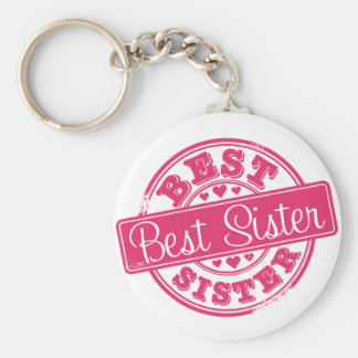 Best sister -rubber stamp effect- basic round button key ring