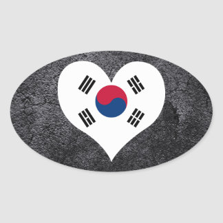 Best South+Korean Heart flag Oval Sticker
