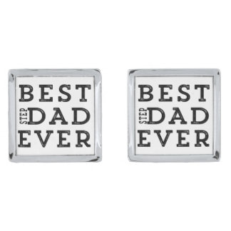 Best Step Dad Ever Silver Finish Cuff Links