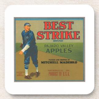 Best Strike Vintage Apple Crate Label - vintage ba Beverage Coasters