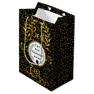 Best Teacher Award Gold with Black Thank You Medium Gift Bag