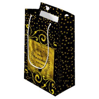 Best Teacher Award Gold with Black Thank You Small Gift Bag
