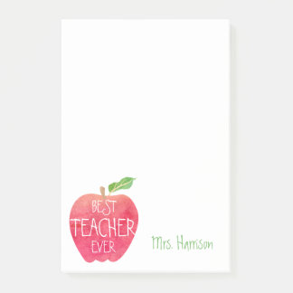 Best Teacher Ever Customized Red Apple Watercolor Post-it Notes