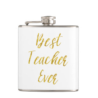 Best Teacher Ever Gold Glitter Faux Foil Metallic Hip Flask