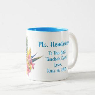 Best Teacher From Class Hawaiian Flowers Mug