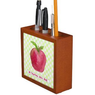 Best Teacher Gift Red Apple Watercolor Desk Organiser