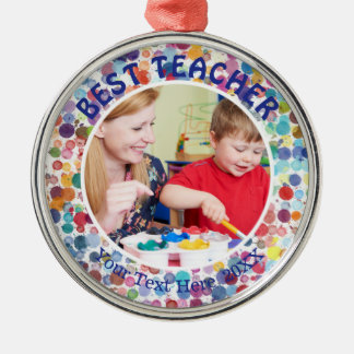 BEST TEACHER, Multi-Color Watercolor Splatter Dots Metal Ornament
