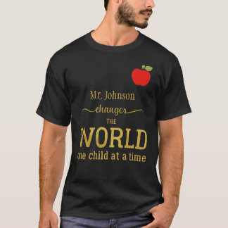 Best teacher name gold typography quote apple T-Shirt