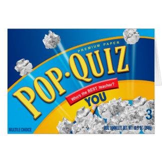 Best Teacher Pop Quiz Card