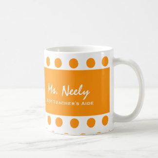 Best TEACHER'S AIDE Orange Polka Dots Basic White Mug