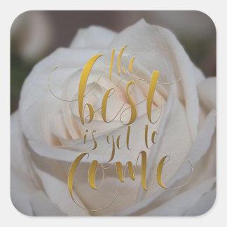 Best To Come White Rose Enveliope Seals-Stickers Square Sticker
