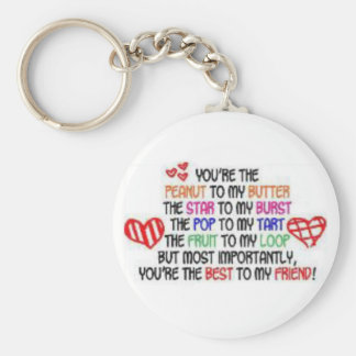 best to my friend basic round button key ring
