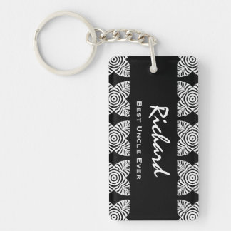Best UNCLE Ever Black and White Geometric Pattern Key Ring