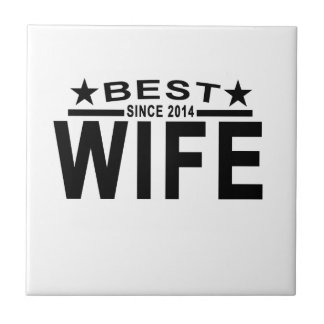 Best WIFE Since 2014 Tshirt.png Small Square Tile