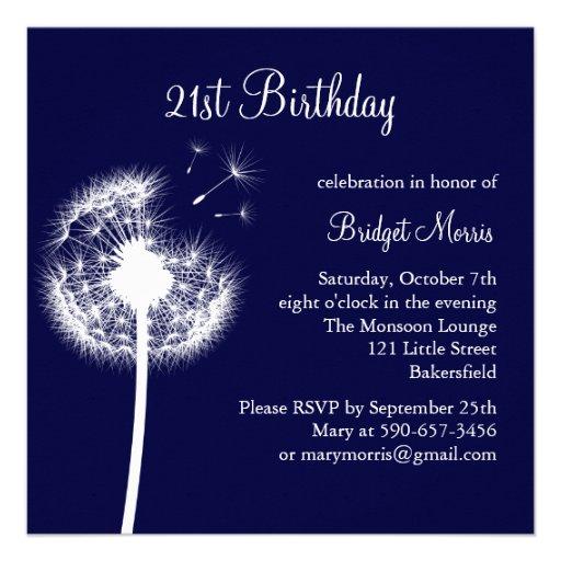 """Best Wishes 21st Birthday Invitation (navy) 5.25"""" Square"""