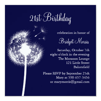 Best Wishes 21st Birthday Invitation (navy)