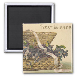 Best Wishes Basket of Flowers Magnets