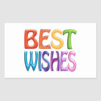 BEST WISHES fun colourful 3d-like logo Rectangular Sticker
