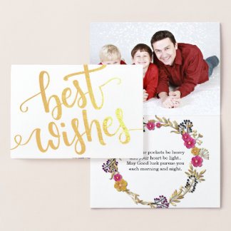 Best Wishes Gold Foil scripted text family photo Foil Card