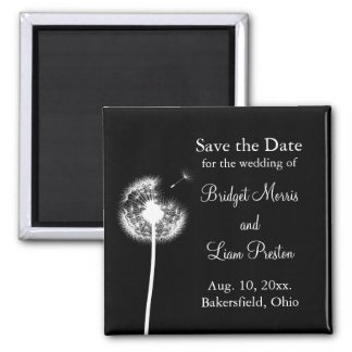 Best Wishes! Save the Date (black) Square Magnet