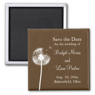 Best Wishes! Save the Date (brown) Square Magnet