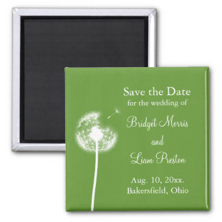 Best Wishes! Save the Date (green) Square Magnet