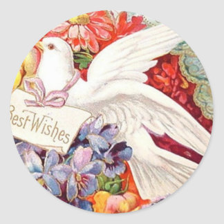 Best Wishes Victorian Dove Wedding Birthday Classic Round Sticker