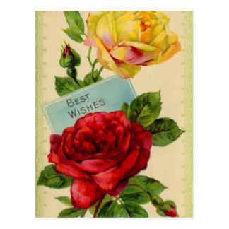 Best Wishes vintage postcard