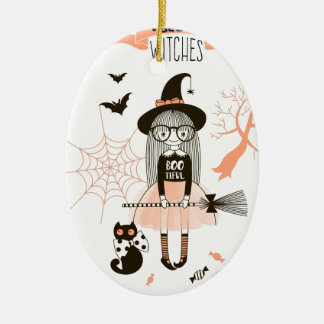 Best Witches Happy Halloween Ceramic Ornament