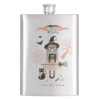 Best Witches Happy Halloween Hip Flask