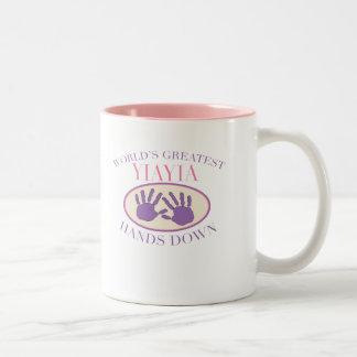 Best YiaYia Hands Down T-shirt Two-Tone Mug