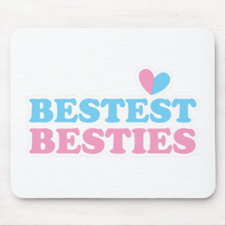 BESTEST BESTIES with cute hearts BFF best friends Mouse Pad