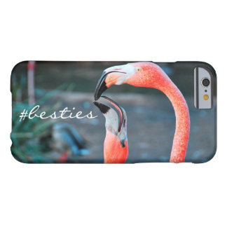 """# Besties"" Quote Cute Orange Pink Flamingos Photo Barely There iPhone 6 Case"