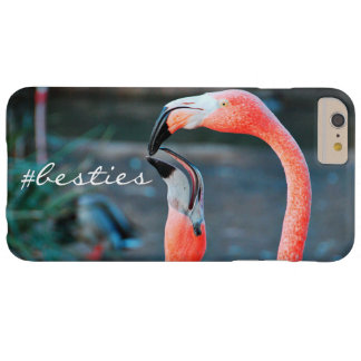 """""""# Besties"""" Quote Cute Orange Pink Flamingos Photo Barely There iPhone 6 Plus Case"""