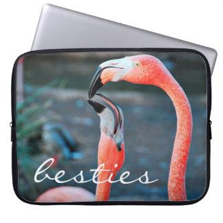 """""""Besties"""" Quote Cute Orange Pink Flamingos Photo Laptop Sleeve"""