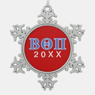 Beta Theta Pi Blue Letters Snowflake Pewter Christmas Ornament