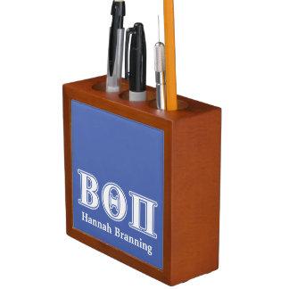 Beta Theta Pi White and Blue Letters Pencil Holder