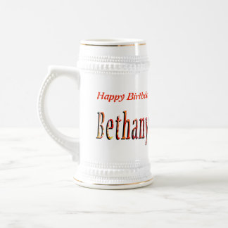 Bethany Girls Name Logo Beer Stein