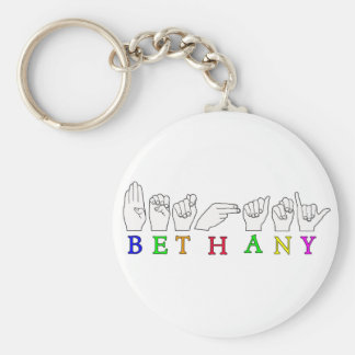 BETHANY NAME ASL FINGERSPELLED SIGN KEY RING