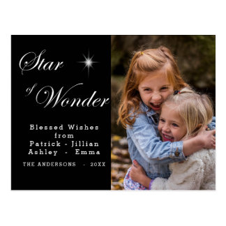 Bethlehem Star of Wonder Black Postcard