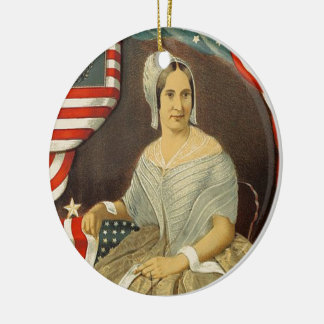 Betsy Ross First American Flag Vintage Portrait US Ceramic Ornament