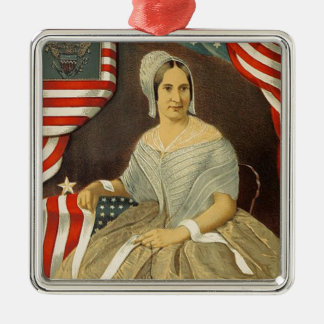 Betsy Ross First American Flag Vintage Portrait US Metal Ornament