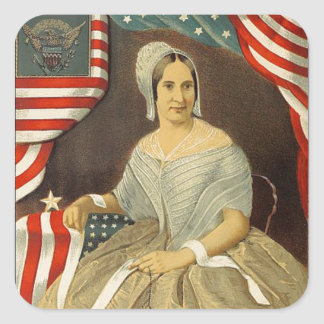 Betsy Ross First American Flag Vintage Portrait US Square Sticker