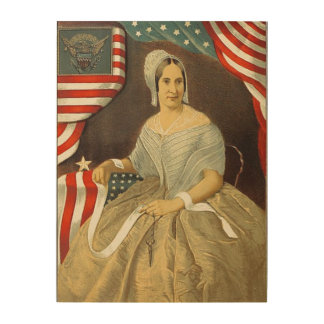 Betsy Ross First American Flag Vintage Portrait US Wood Print