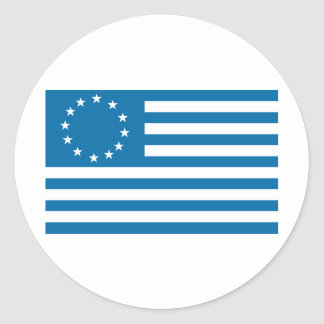 Betsy Ross Flag - Blue Classic Round Sticker