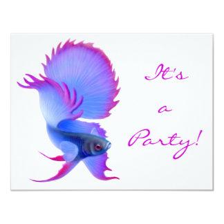 "Betta Fighting Fish Invitation 4.25"" X 5.5"" Invitation Card"