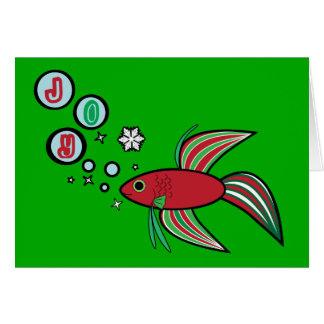 Betta Fish at Christmas Bubbles of Joy Card